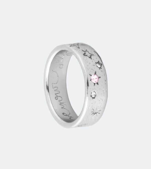 Anekke - szeroka srebrna obrączka astro Swarovski - Lunula Dream Shop