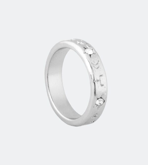 Anekke - wąska srebrna obrączka astro Swarovski - Lunula Dream Shop